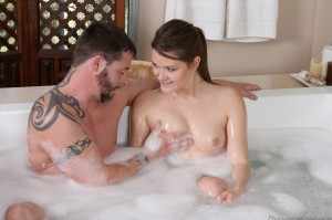 Abby Cross has her tits fondled by her man in the tub