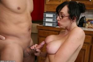 Alia Janine rubs a hard cock against her nipple