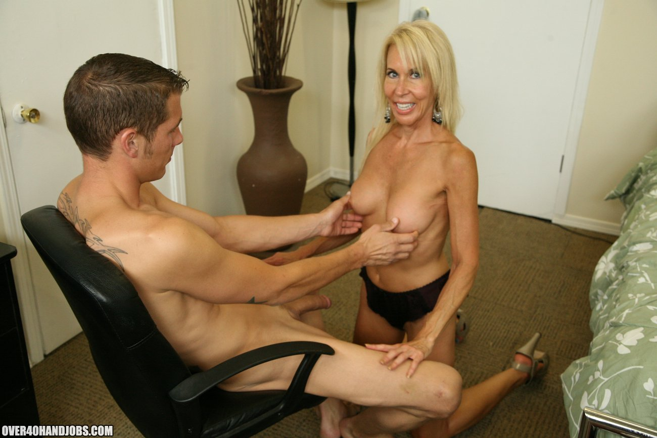 image Hot mom gives femdom handjob to disabled guy