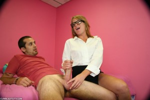 Kylie Monroe strokes a hard dick with her cute hands