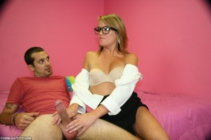 Kylie Monroe wanks a cock for the first time