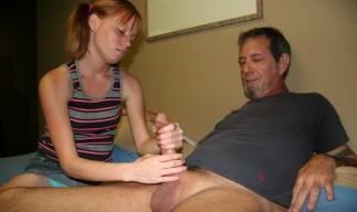 Alyssa Hart wanks her stepdads cock
