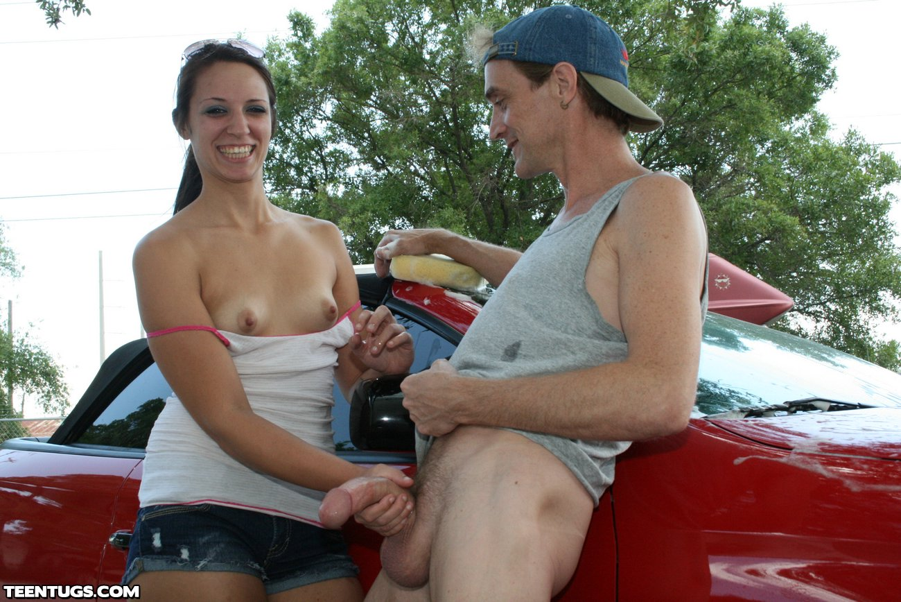 Ashley Storm Is All Smiles As She Gives A Handjob In Public