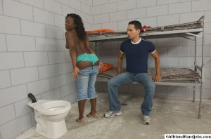 Black girl showing off her big booty to a white boy