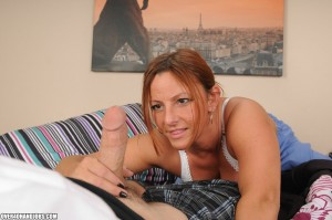 Gia Sophia is adoring the handjob she's giving to her stepson