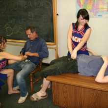 Pocahontas and Dakota Charms unzip a tearch and a student's pants