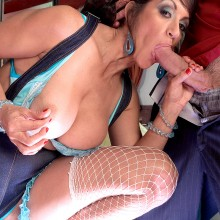 Persia Monir sticks the cock of a younger man in her mouth