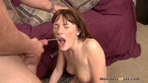 Tiffany Haze takes a massive cumshot to her face