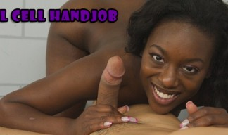 Jail cell handjob from ebony babe to white cock
