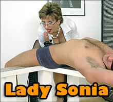 Lady Sonia latex handjob torture