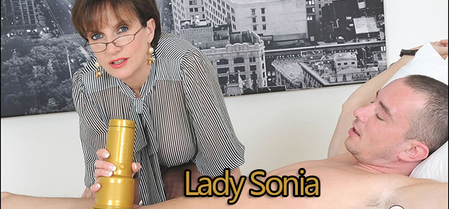 Lady Sonia uses a fleshlight on a bound slave