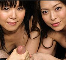 Mint Asakura and Sena Sakura both jerk off one dick