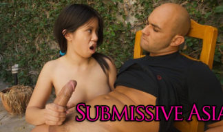 Submissive Asian teen does as shes told and gives a handjob