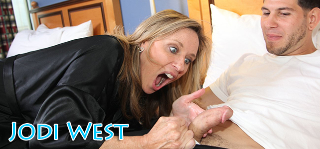 Jodi West is shocked by how sexy her stepsons cock is
