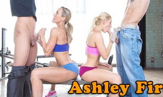 Ashley Fires gives a CFNM Handjob