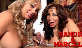 Handjob and blowjob with Sandra and Marcella