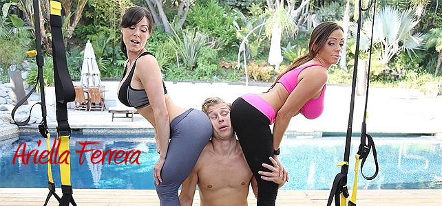 Naked man gets smashed by big booty girls Kendra Lust and Ariella Ferrera