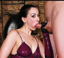 gloved mistress giving her male slave a handjob and blowjob