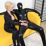 Dominant Granny Nikki Sixxx Jerks Off Her Slave In Latex Suit