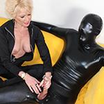 Mature Dom Nikki Sixxx Jerks Off Her Masked Slave