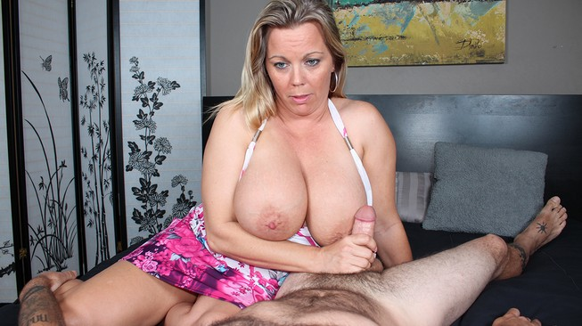 Amber Lynn Bach gives step son an abusive handjob on Over 40 handjobs