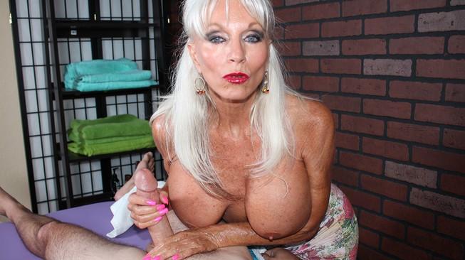 Sally DAngelo big saggy boobies jerking off younger cock