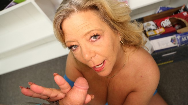 Mikes stepmom gets a handful of his much younger cock