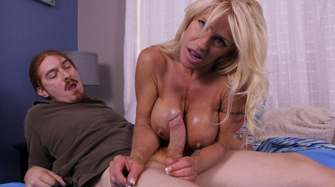 gina west plays in hot cum she milked from his cock