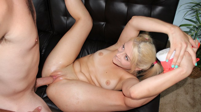 Aubrey gold puts her foot behind her head to get more cock