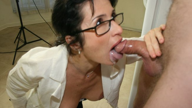 tatiana sucks his cock dry of all of the cum he has spewed into her mouth