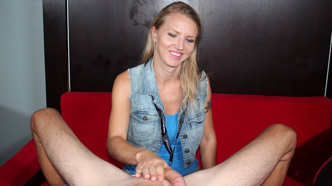 alina long rubs his cock with her petite older hands