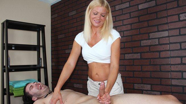 mean massage christina skye tickles him while stroking him