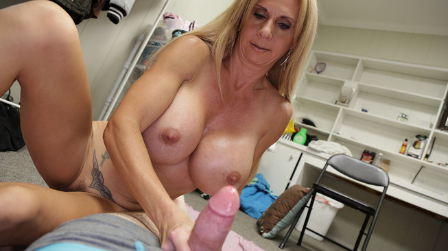 brooke tyler gets old titties covered in cum