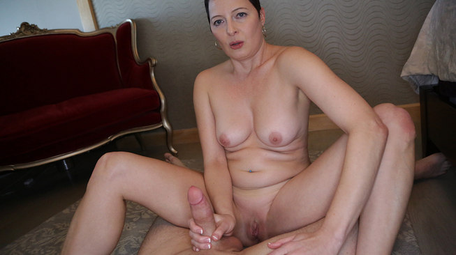 kali karinena teases his cock with her shaved pussy