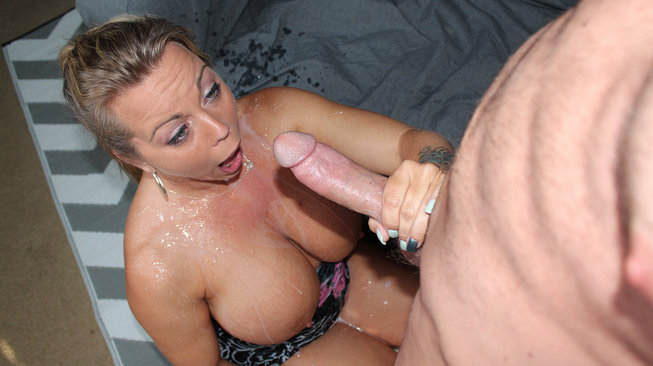 cumblastcity amber bach is shocked by the jizz streaming down her titties