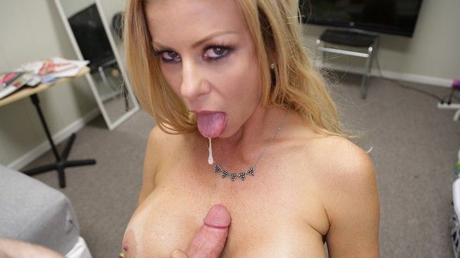 alexis fawx lubes his cock with her spit on over40handjobs