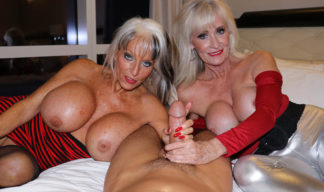 sally deangelo and leah lamour give cock a granny handjob