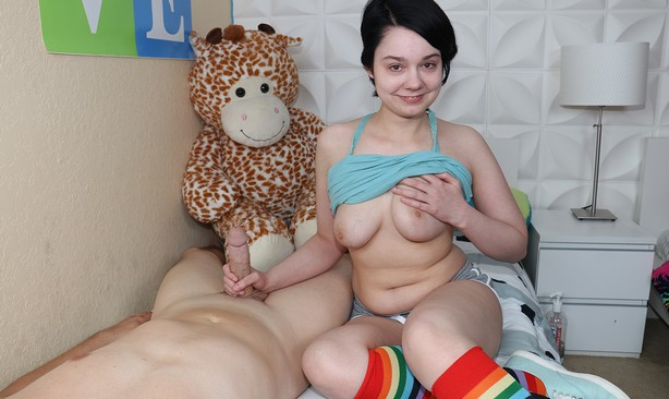 lilly marie gets first look at a cock on teentugs